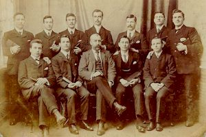 Group of unknown gentlemen, some seated, some standing