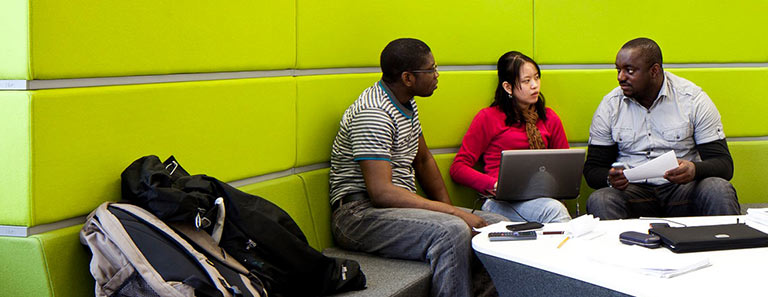 Students using the library facilities