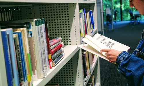 Person looking at book off a library shelf