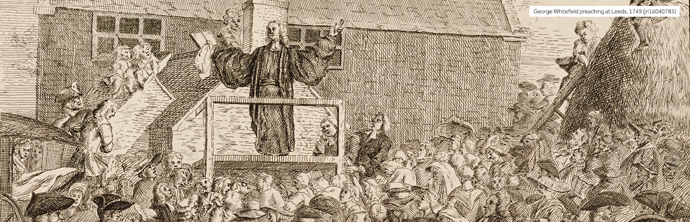 Sketch of George Whitefield preaching at Rose Green